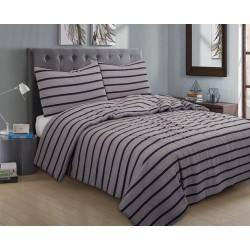 3 pc JERSEY Comforter Set QUEEN asst. Stripes