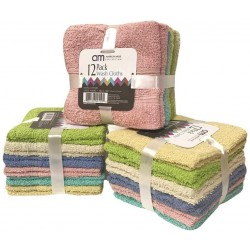 12 Pack Wash Cloth (Assorted Colors)