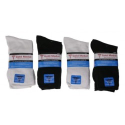Diabetic Comfort 3PK Crew Sock LARGE Black/White