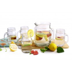 2L MASON GLASS PITCHER & 4 MUGS