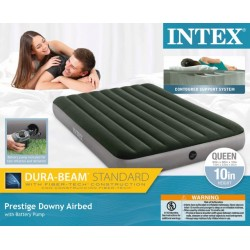 INTEX QUEEN PRESTIGE DOWNY AIRBED W/ BATTERY PUMP