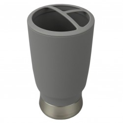 TOOTHBRUSH HOLDER RUBBERIZED GREY PDQ