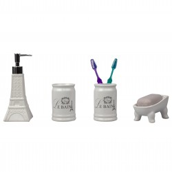 4PC BATH SET EIFFEL CERAMIC/WHITE