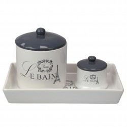 2PC CANISTER SET W/TRAY LE BAINE CERAMIC/WHITE