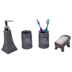 4PC BATH SET EIFFEL CERAMIC/GREY