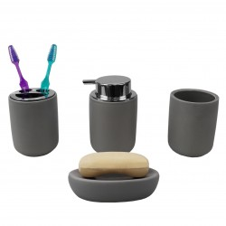 4PC CERAMIC BATH ACCESSORY SET BLACK