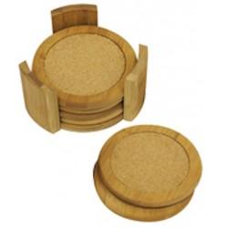7 Pc Bamboo Coaster Set