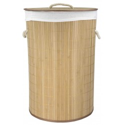 "16"" X 24"" Round Folding Bamboo Hamper"