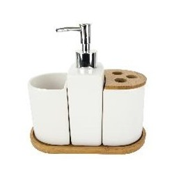 4PC CERAMIC BATH SET BAMBOO WH