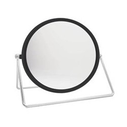 COSMETIC MIRROR BLACK w/CHROME 6""