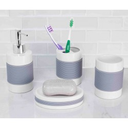 4PC BATH ACCESSORY SET W/RUBBER GRIP (CERAMIC)