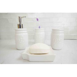 4PC BATHROOM SET MASON JAR WHITE (DOLOMITE)