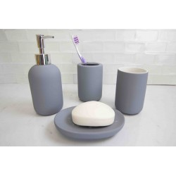 4PC BATHROOM SET RUBBERIZED (BLUE)