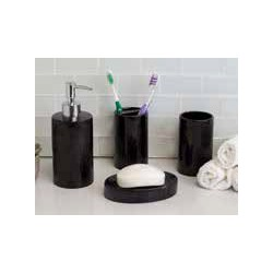 4PC CERAMIC BATH SET BLACK