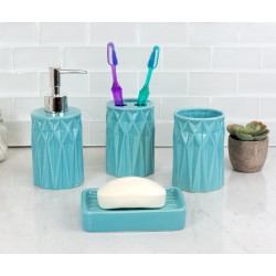 4PC BATH SET PRISM TURQUOISE CERAMIC