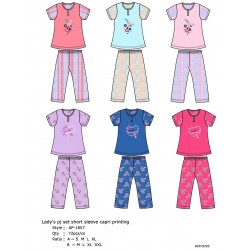 Lady's PJ Set Short Sleeve Capri (S-XL)