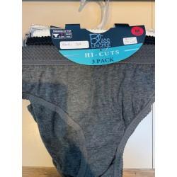 3PK Hi-Cuts Panties Solids- M-XL