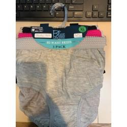 3PK Hi Waist Brief Panties Solids- M-2X