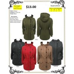 Hooded Coat W/Drawstring /Zipper (S-XL)