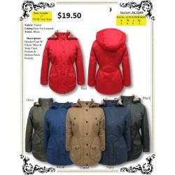 Hooded Coat W/Elastic Waist Snap Chest Pockets (S-XL)