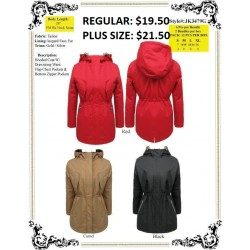 Hooded Coat W/Drawstring Waist Flap Chest Pocket RED  (S-XL)