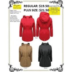 Hooded Coat W/Drawstring Waist Flap Chest Pocket BLK (S-XL)