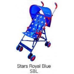 JUMBO UMBRELLA STROLLER W/ ROUND CANOPY STARS ROYAL BLUE