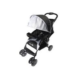 MULTI POSITION EASY FOLD STROLLER W/ROUND CANOPY & BASKET BLACK
